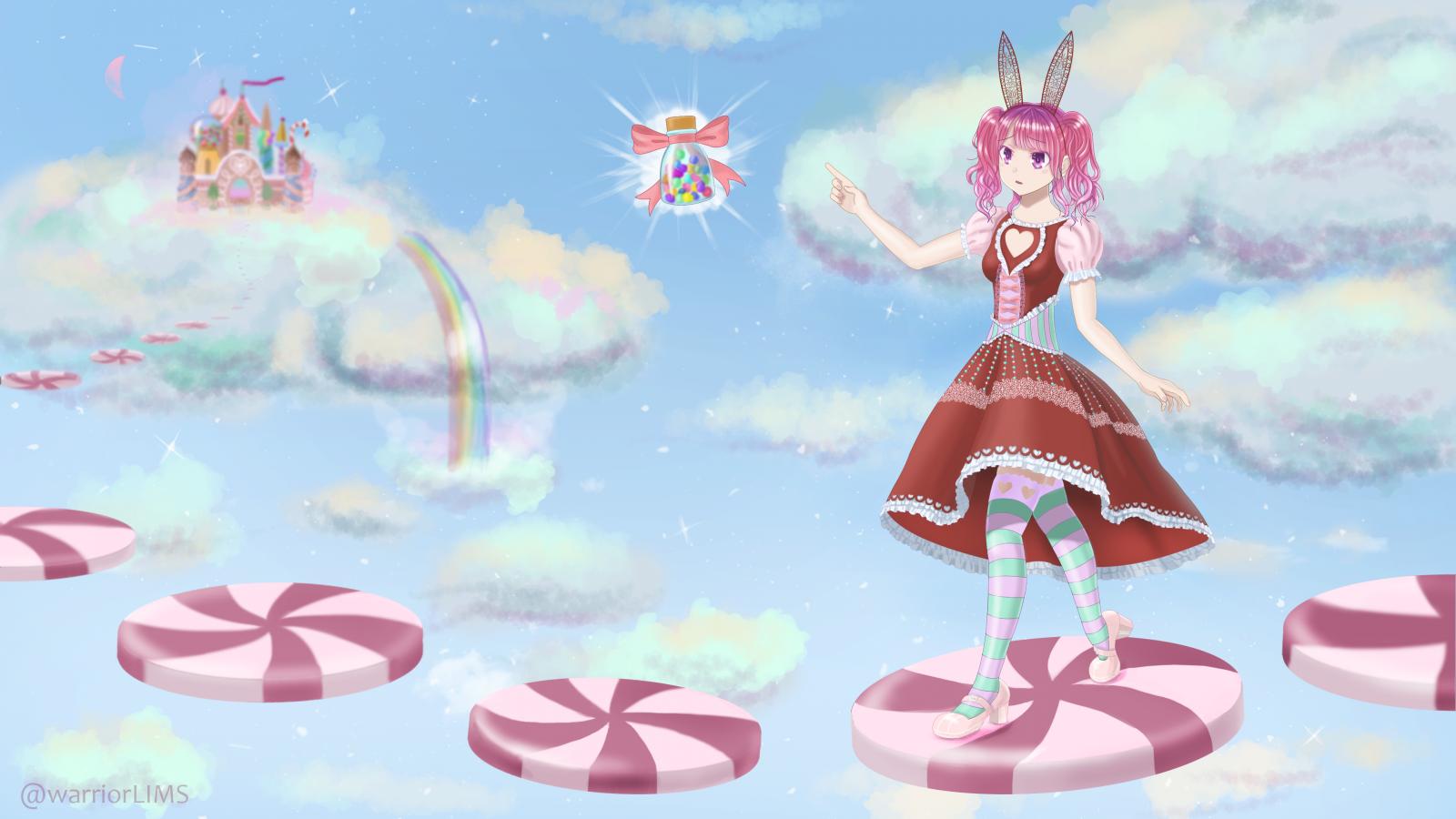 Wallpaper Anime Art Bunny Girl Candy Cute Heaven Kawaii Loli Lolita Fashion Pink Rainbow Sky Sweet 3840x2160 Warriorlimsofficial 1448645 Hd Wallpapers Wallhere