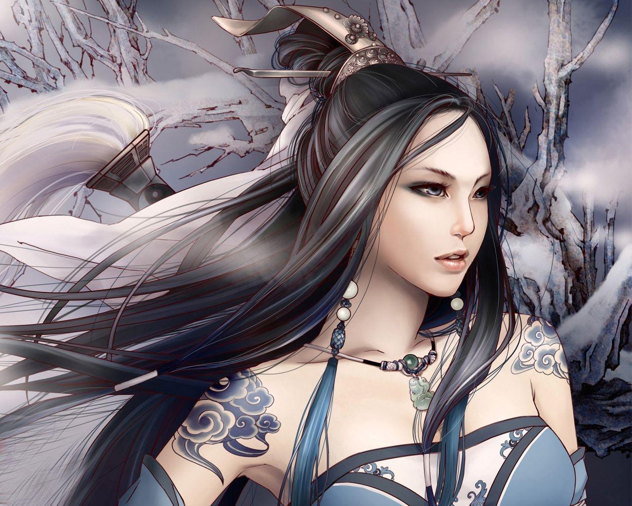 длинные волосы аниме Азиатский снег черные волосы волосы Девушка Татуировки  Обои для рабочего стола компьютера коричневые 25167e6d2ba92