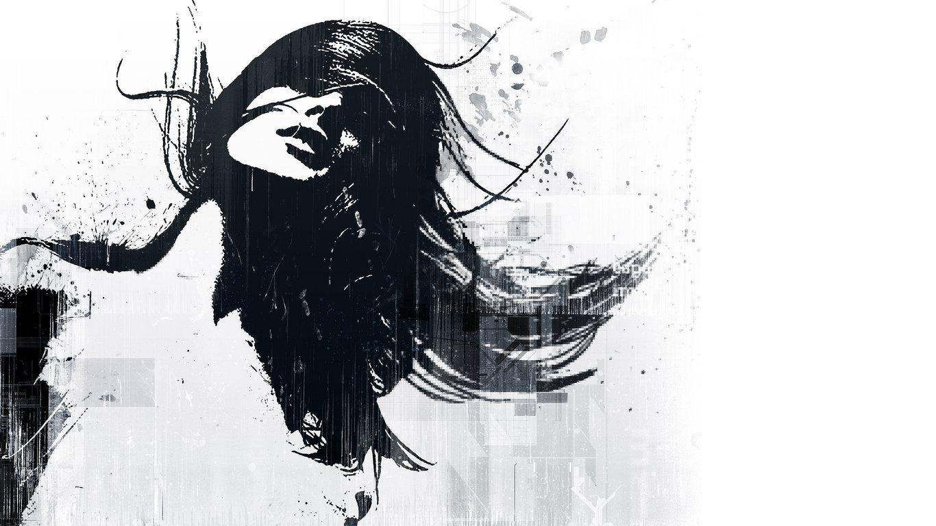 Fond D Ecran Dessin Illustration Monochrome Cheveux