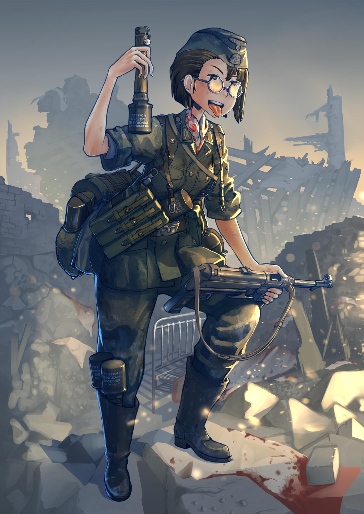 Wallpaper gun anime girls short hair glasses weapon soldier gun anime anime girls short hair glasses weapon soldier nazi blood comics uniform world war ii thecheapjerseys Choice Image