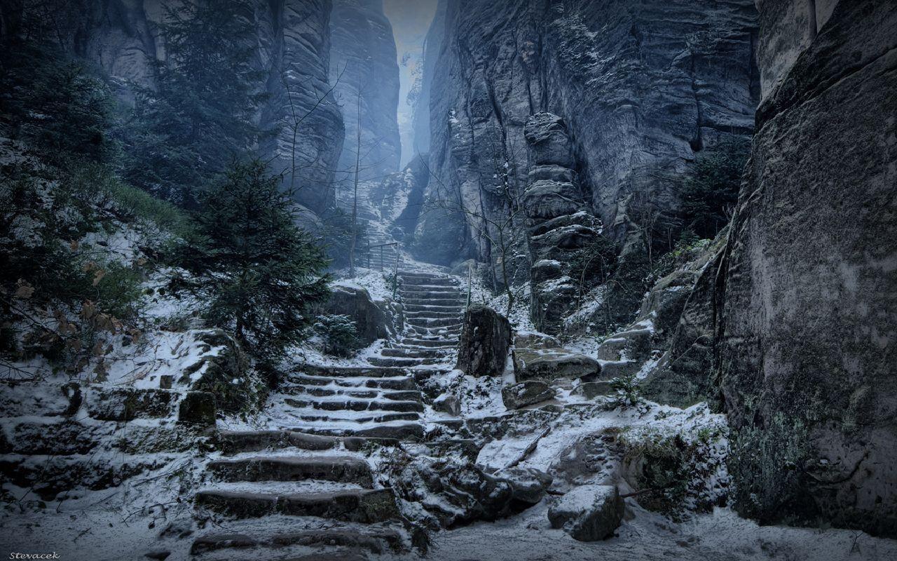 Wallpaper : digital art, video games, rock, snow, ice, cave, The