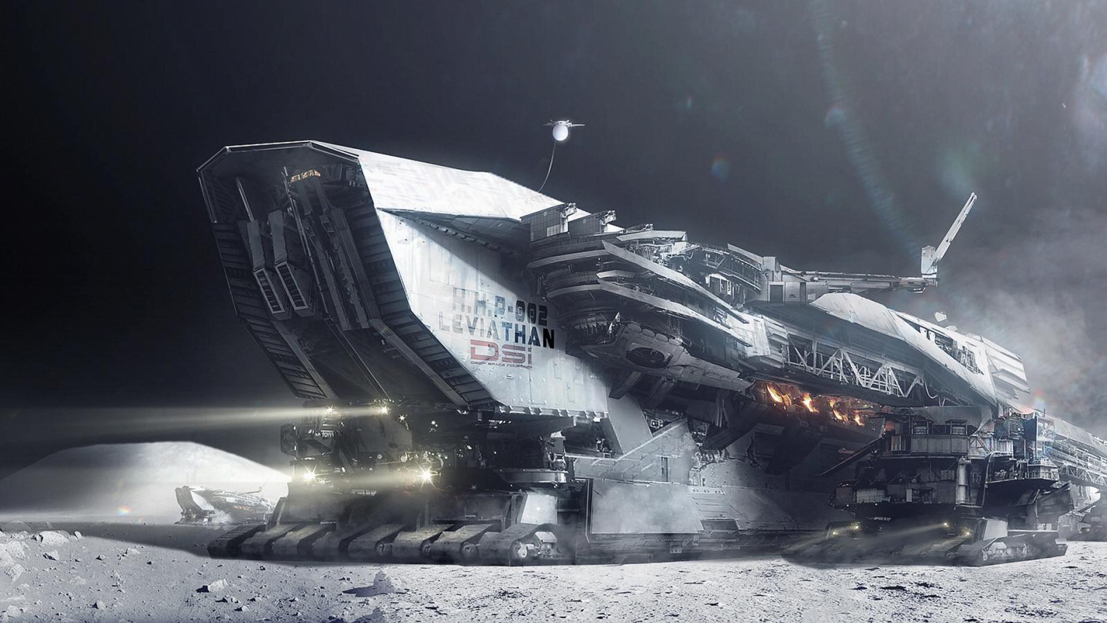 fantasy art, hely, hó, jármű, hold film, screenshot, űrhajó