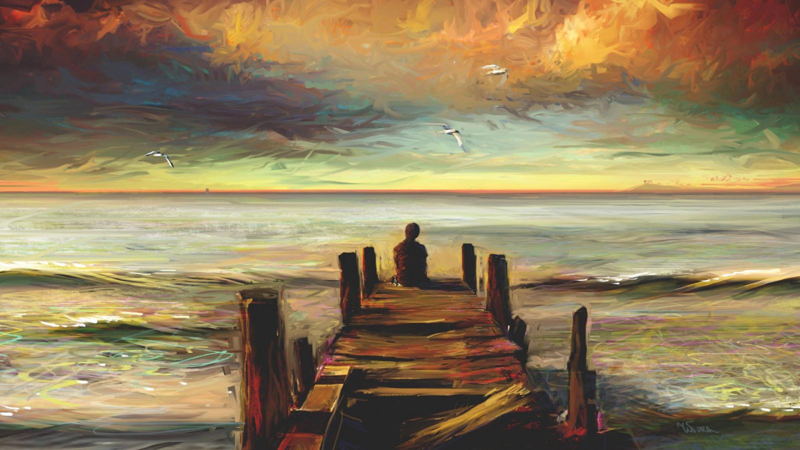 pintura puesta de sol mar Obra de arte amanecer noche costa horizonte muelle ART amanecer Oceano ola arte Moderno pintura acrilica Impresionista
