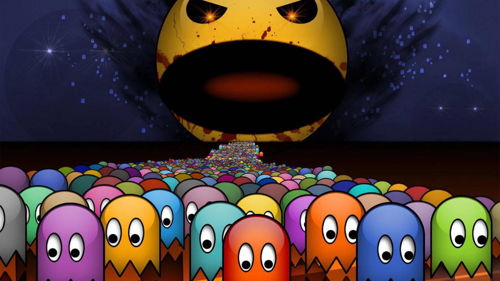 Fond d'écran : illustration, jeux vidéo, dessin animé, Pac-Man, Geek, Jeux, capture d'écran ...