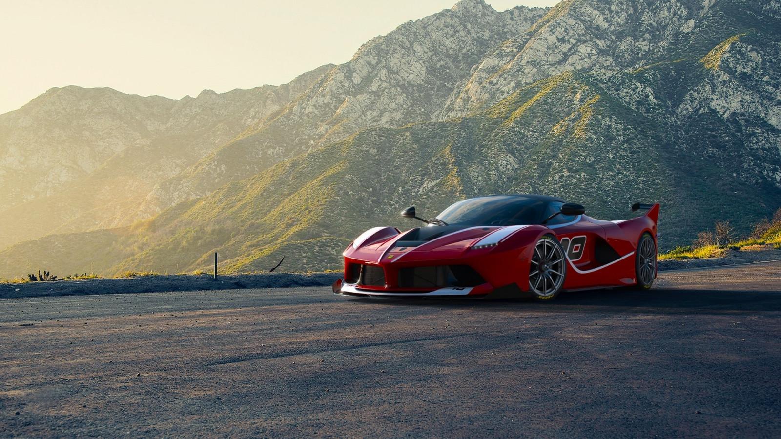Wallpaper : Ferrari, supercar, sports car, red, mountains ...