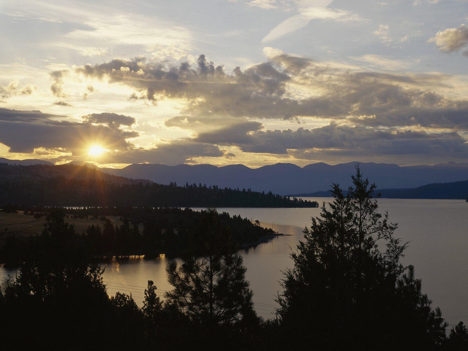 Wallpaper Sunlight Trees Sunset Sea Nature Reflection Sky Sunrise Evening Morning River Sun Horizon Dusk Montana Cloud Mountain Dawn