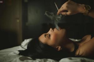 cigarettes hot smoking brunette part