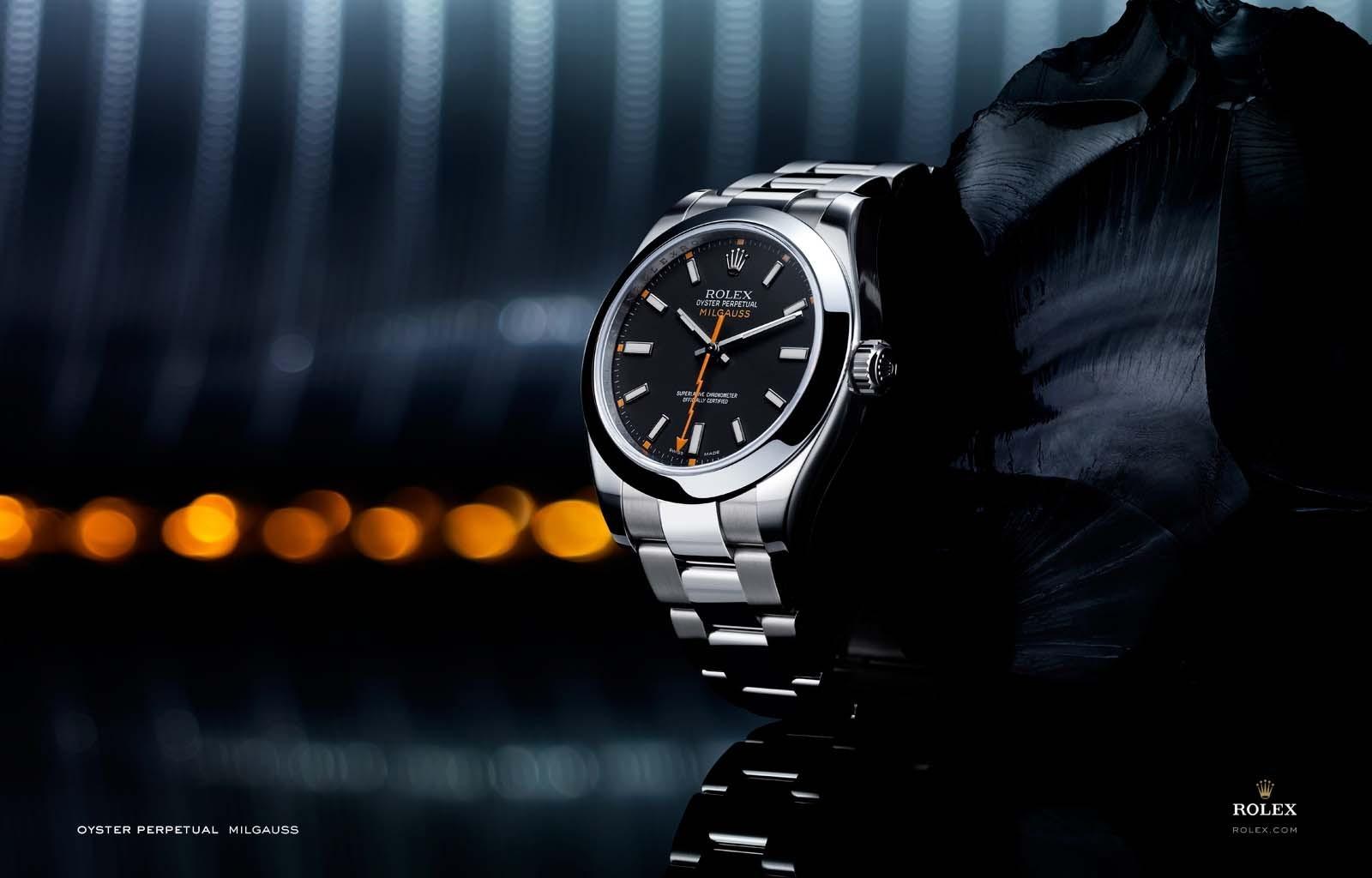 Fond Décran Noir Regarder Rolex Marque Montres De Luxe Main