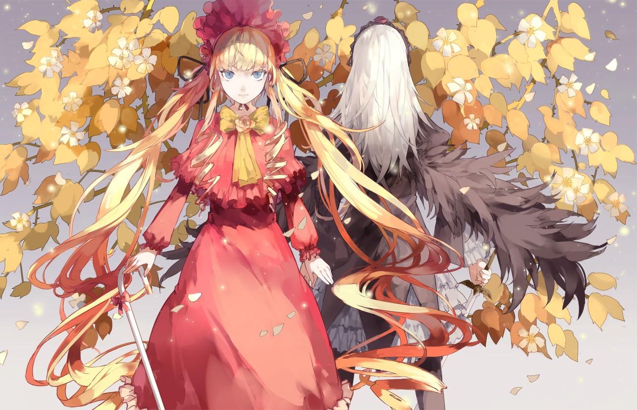 Wallpaper Leaves Illustration Blonde Anime Girls Blue Eyes