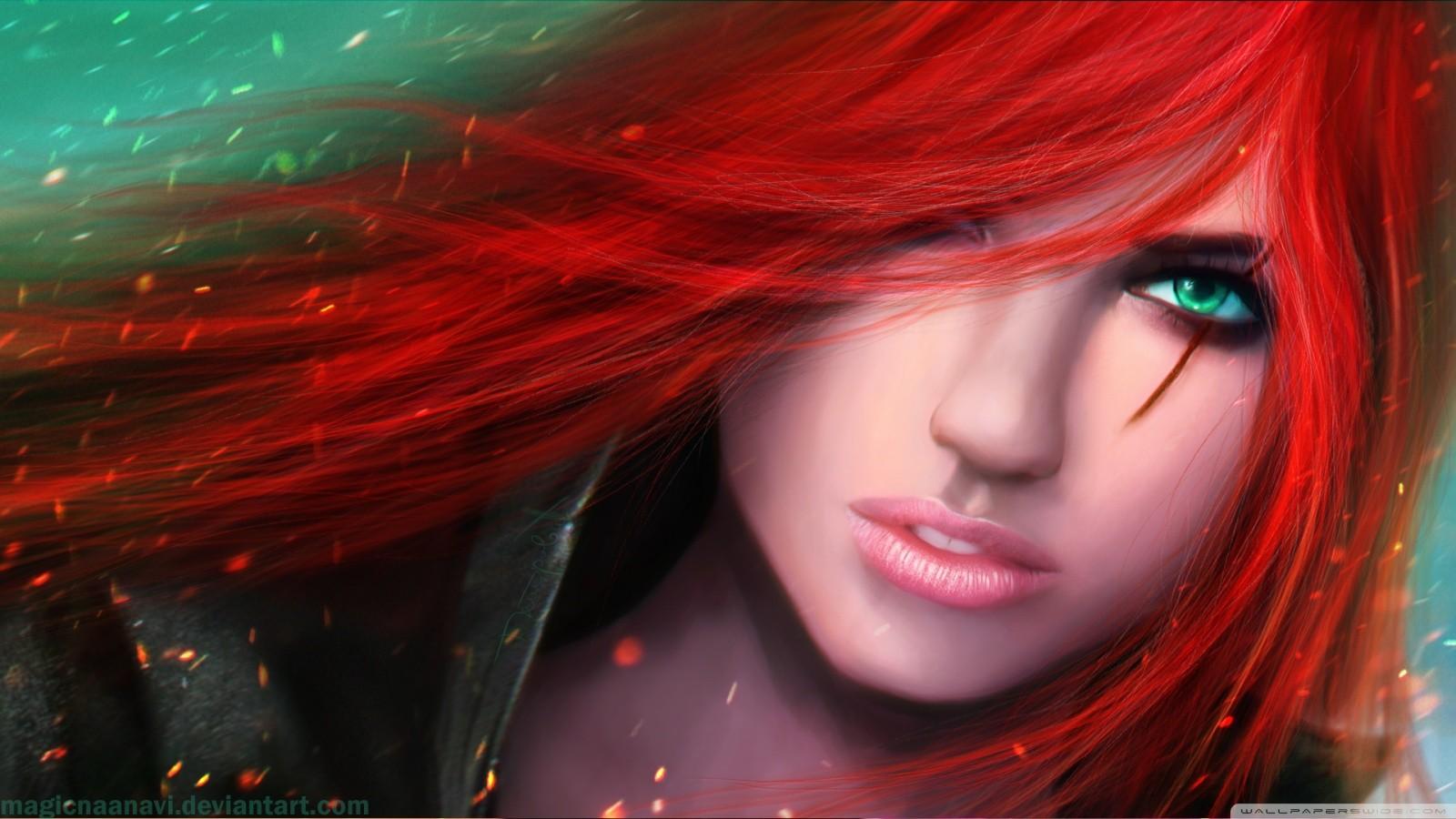Masaüstü Video Oyunları Kızıl Saçlı Model Anime Kırmızı