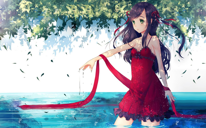 Wallpaper Leaves Illustration Anime Girls Water Black Hair
