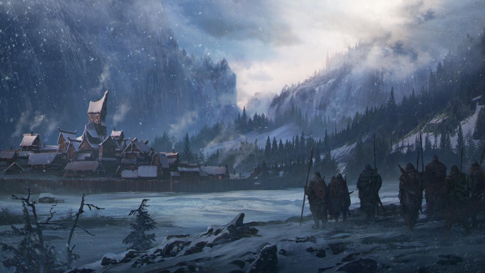 village, artwork, mountains, landscape, nature, fantasy art