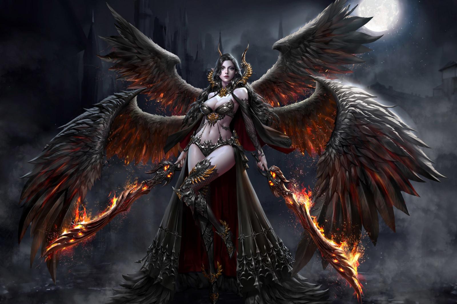 Wallpaper fantasy art dark fantasy fantasy girl demon - Fantasy wallpaper dark ...