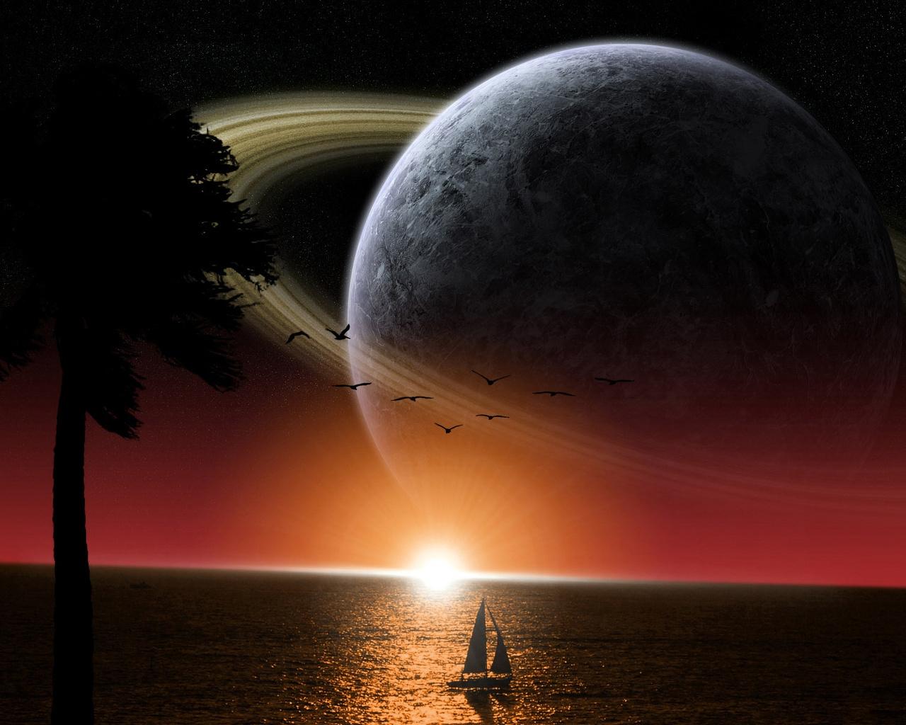 sfondi nave mare saturno sole spazio 1280x1024