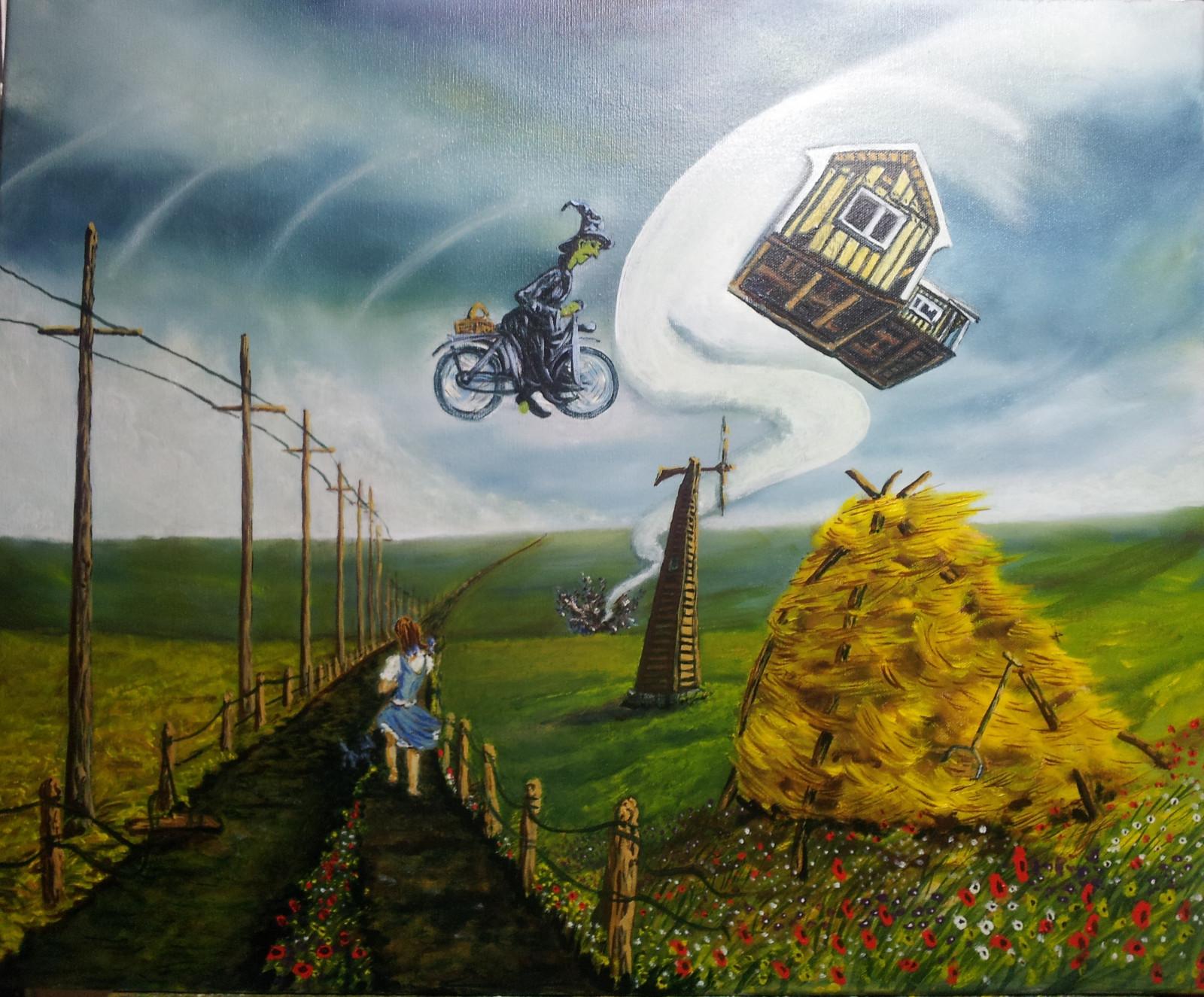 Masaüstü Manzara Boyama Bisiklet Ot Gökyüzü Ev Fırtına Uçan