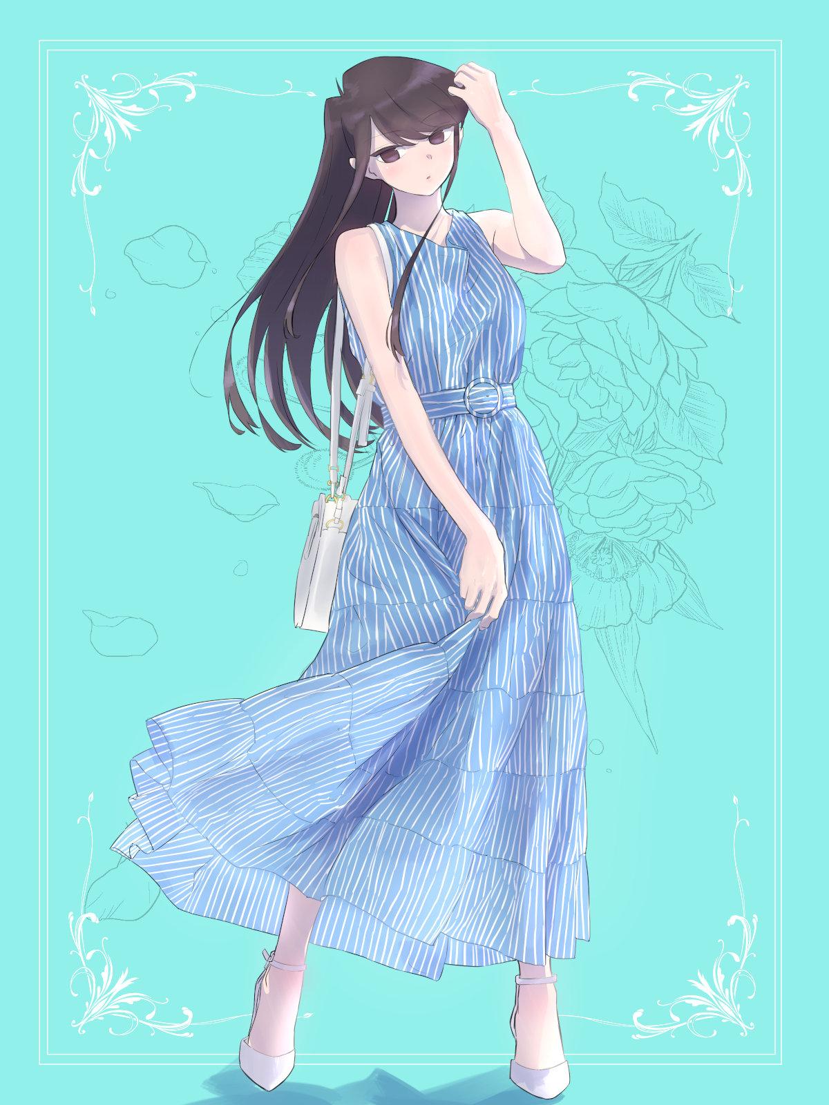 Komi san wa Comyushou desu anime girls long hair black hair JK small boobs thighs blue dress 1811769