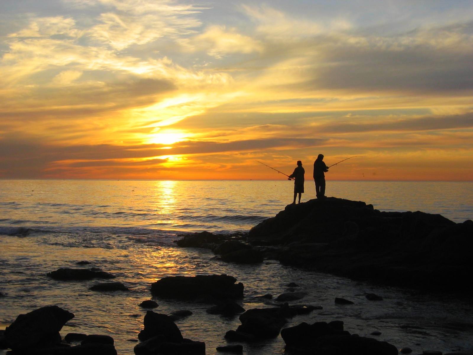Wallpaper Sunset Fishing Peace Bliss Happiness Twilight