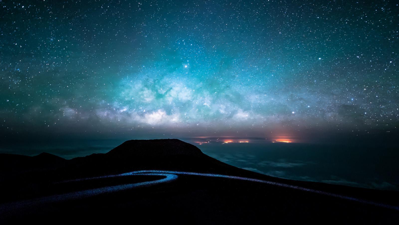 Wallpaper Pemandangan Malam Galaksi Langit Bintang Sinar