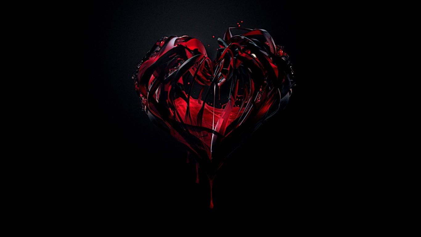Fond d 39 cran noir illustration c ur rouge lumi re - Fleur au coeur noir ...