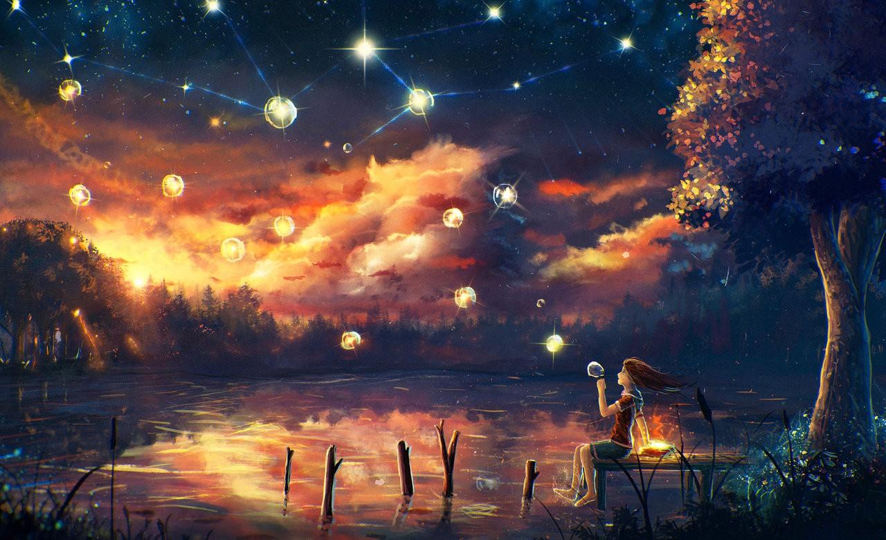 Wallpaper Sunlight Night Reflection Sky Artwork Evening