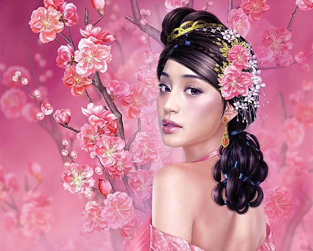Fondos de pantalla : cara, Flores, pelo largo, morena, Cabello negro ...