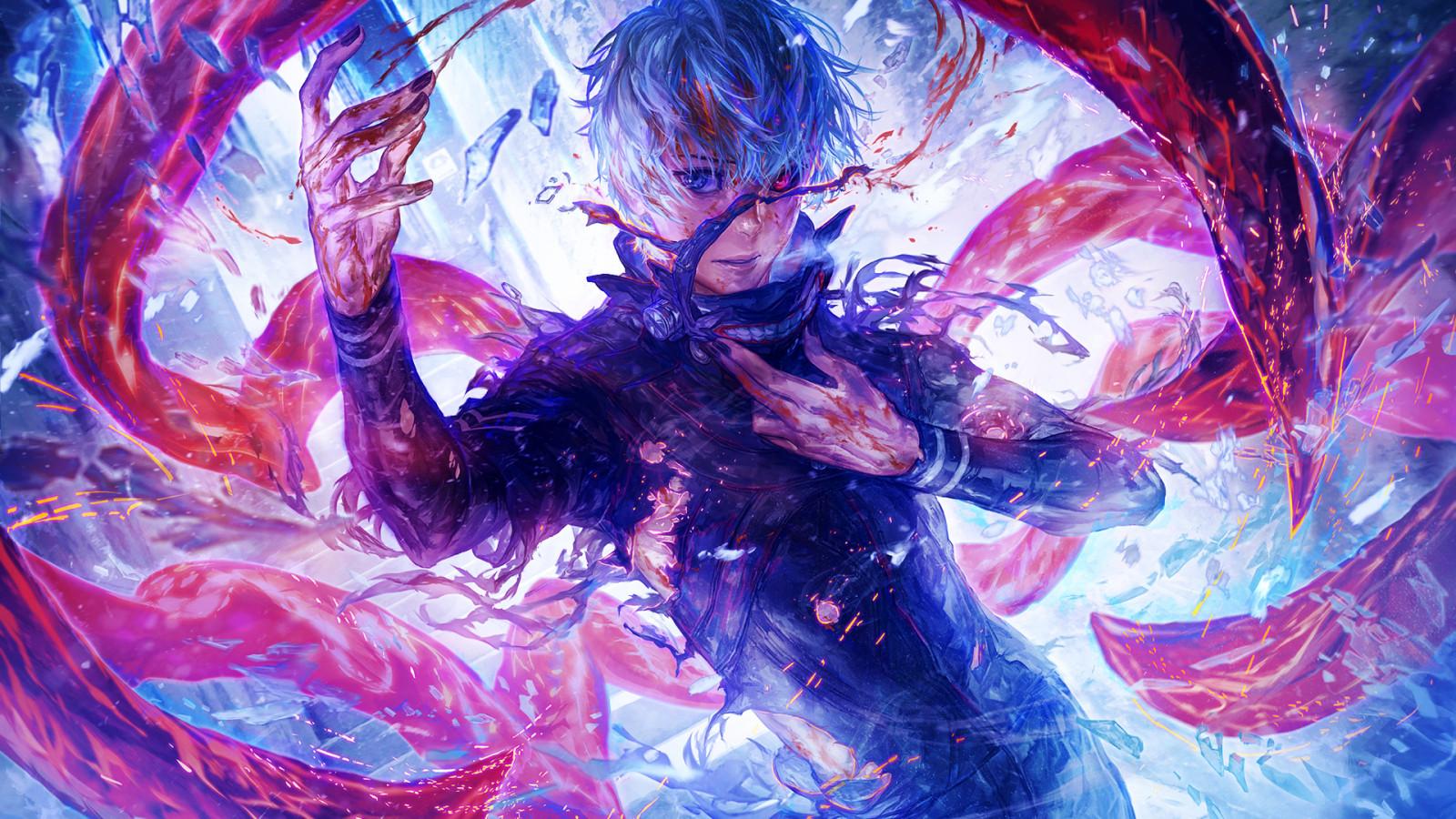 Wallpaper : anime boys, artwork, Tokyo Ghoul, Kaneki Ken ...