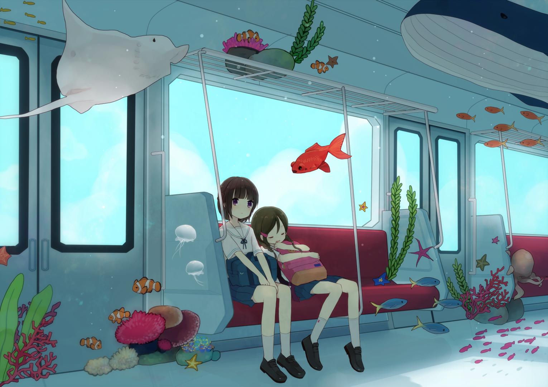 Wallpaper Ilustrasi Laut Gadis Anime Kamar Sedang Tidur Ikan