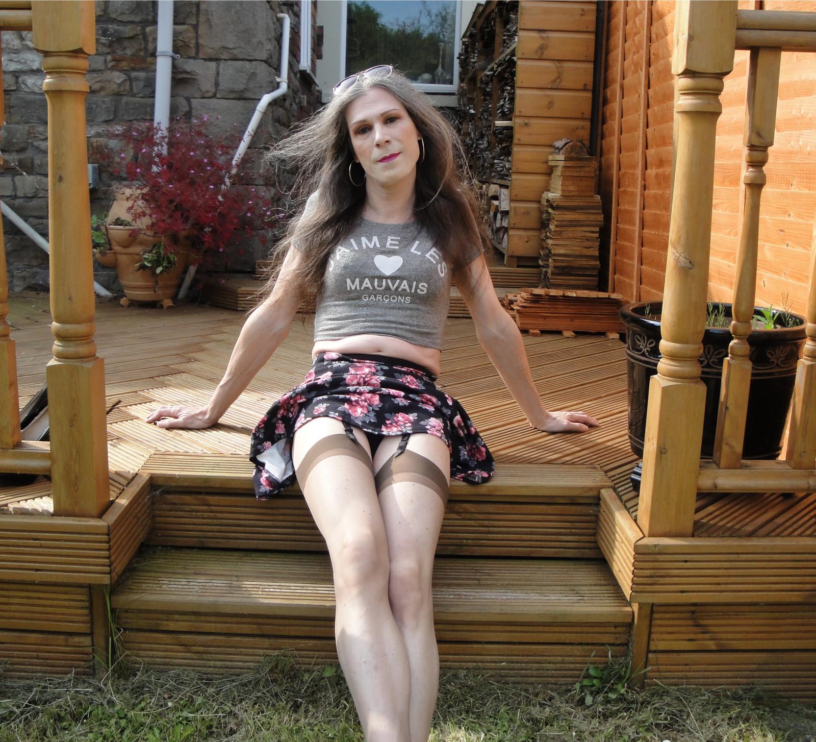 Wallpaper : stockings, outdoors, sitting, Julia, cd, tgirl