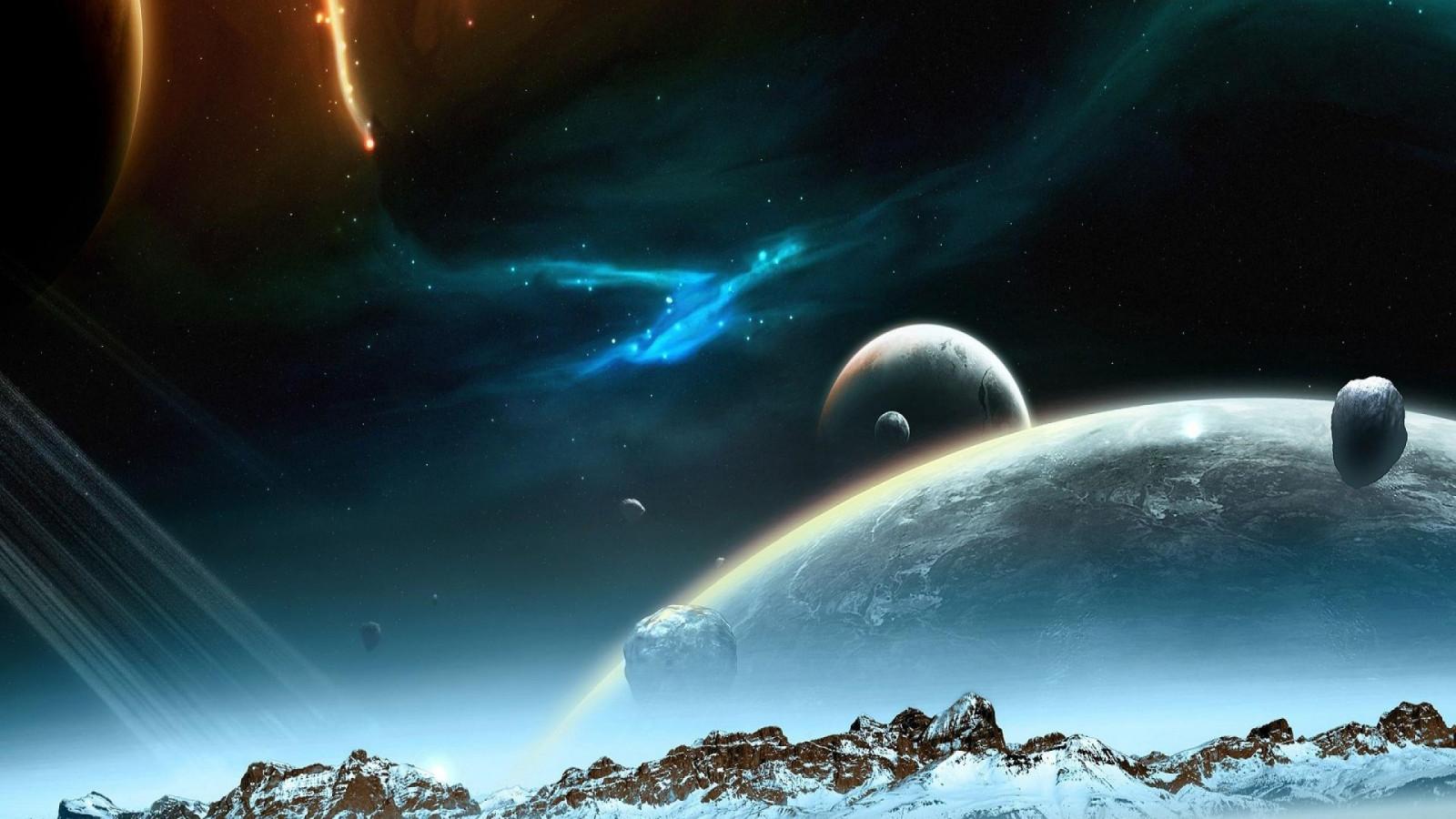 Fond d'écran : art numérique, planète, 3D, espace, étoiles, Terre, atmosphère, univers ...