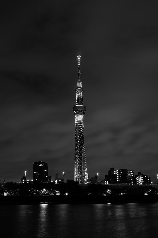 Wallpaper Japan city cityscape night architecture reflection