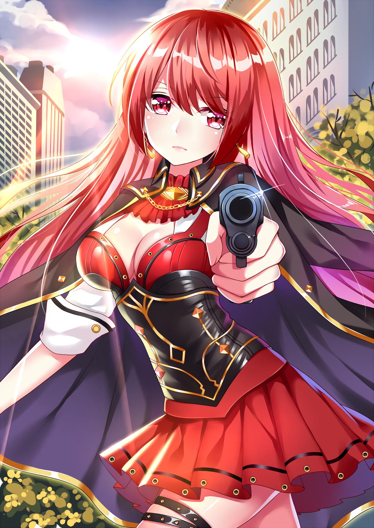 Wallpaper : anime girls, open shirt, gun, weapon, long
