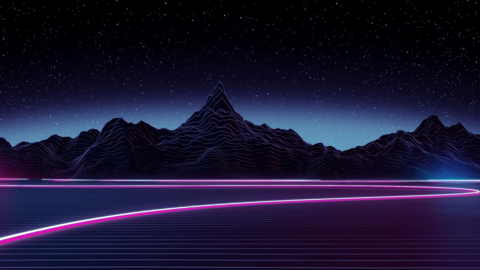 arte digital noite néon céu luar horizonte atmosfera crepúsculo aurora Meia-noite luz alvorecer Estrela Trevas Captura de tela Papel de parede do computador espaço sideral