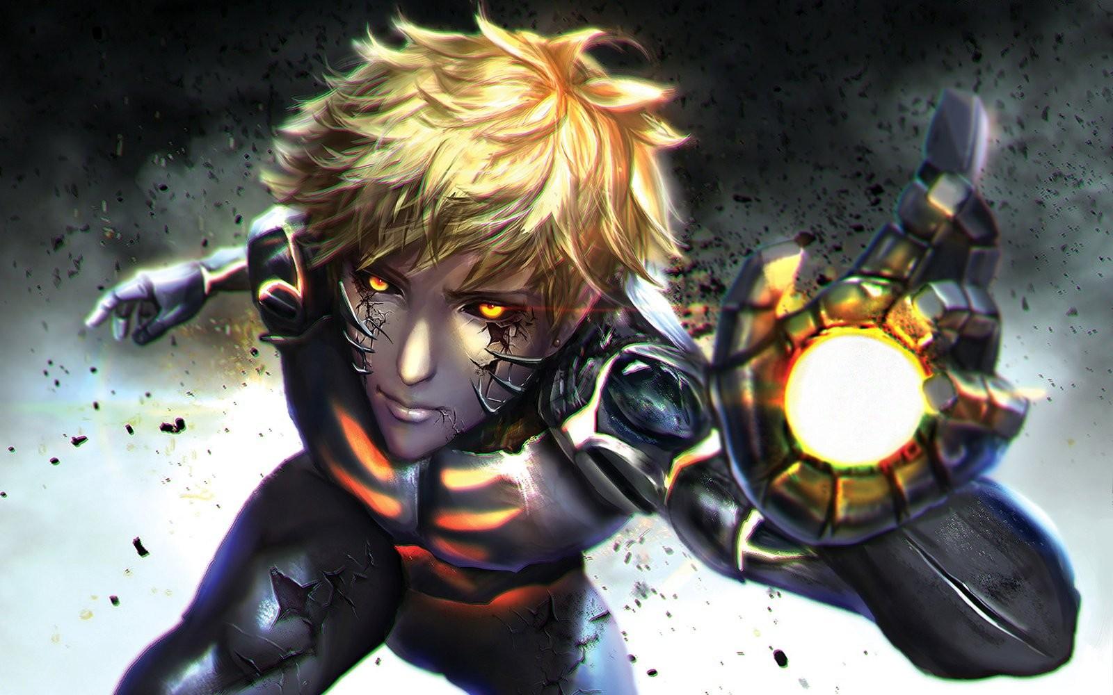 wallpaper blonde anime robot short hair one punch man comics
