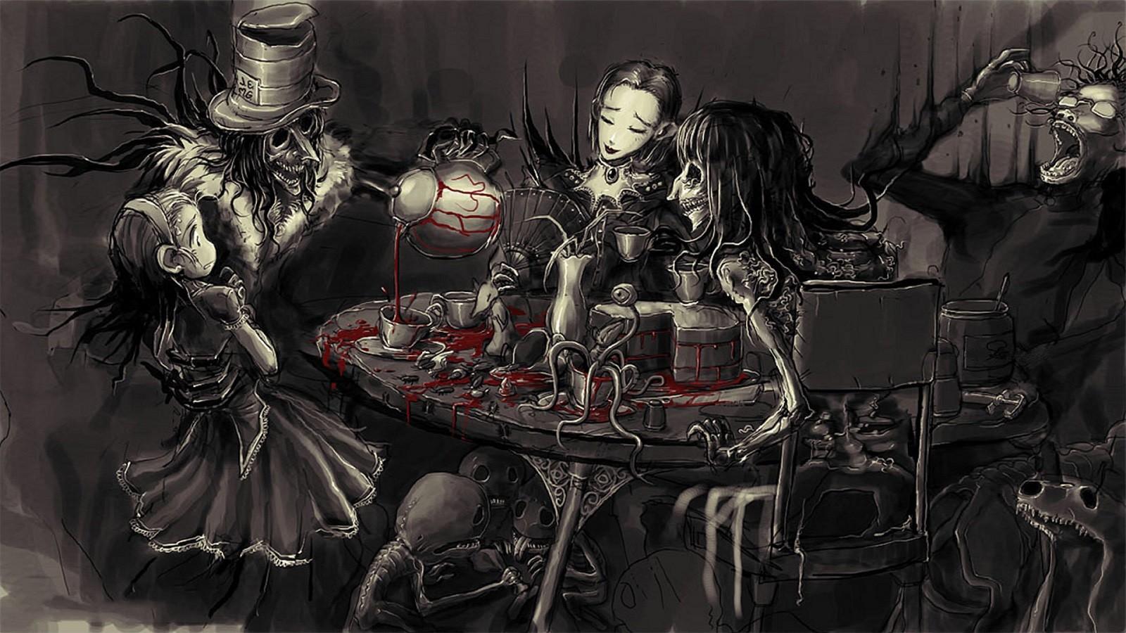 デスクトップ壁紙 血液 ゴシック 不思議の国のアリス 漫画