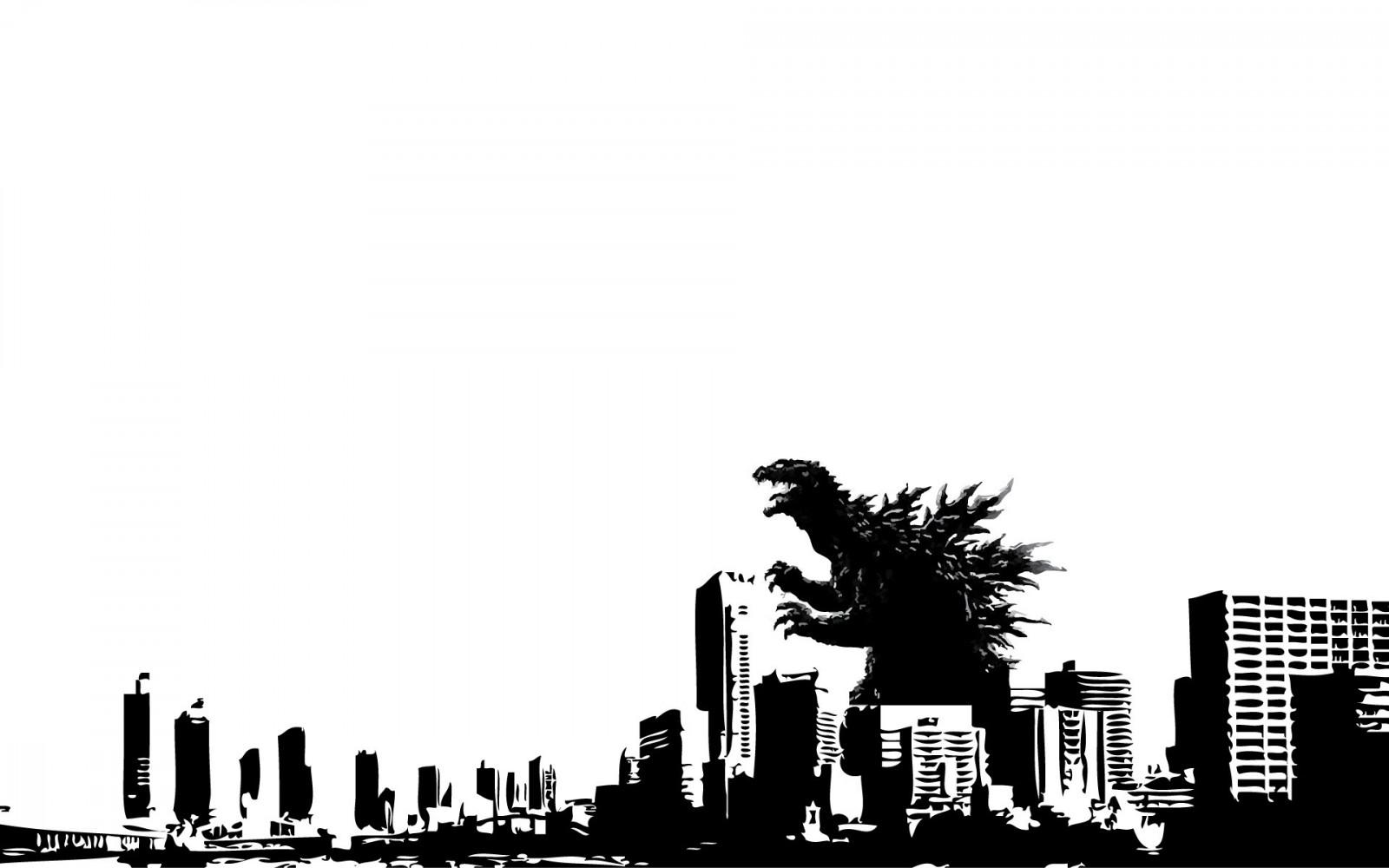 白黒のゴジラ壁紙