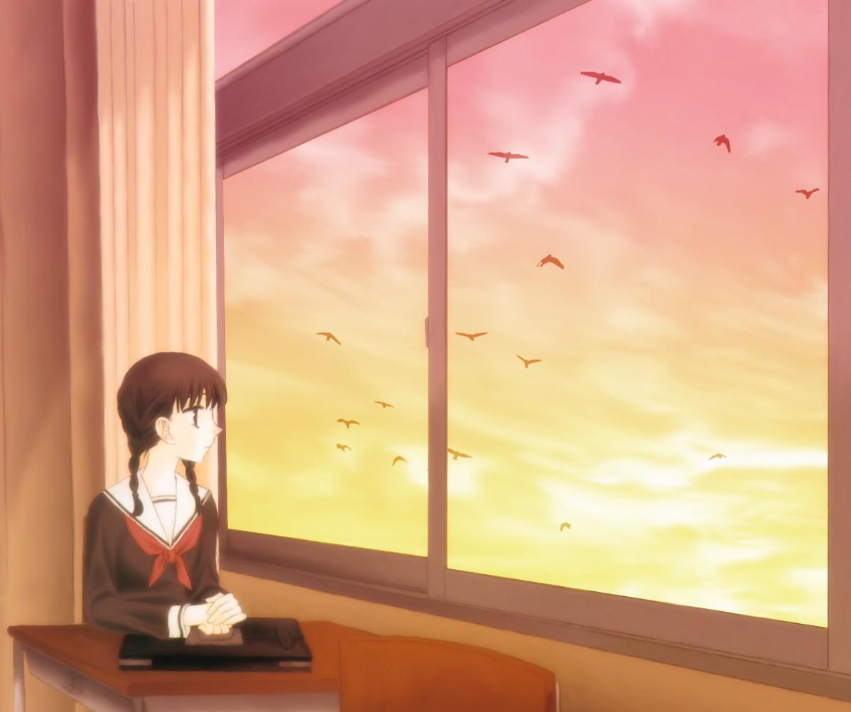 La Peinture Des Oiseaux Fenêtre Filles Anime Ciel Mur élèves Uniforme  Scolaire Design Du0027intérieur