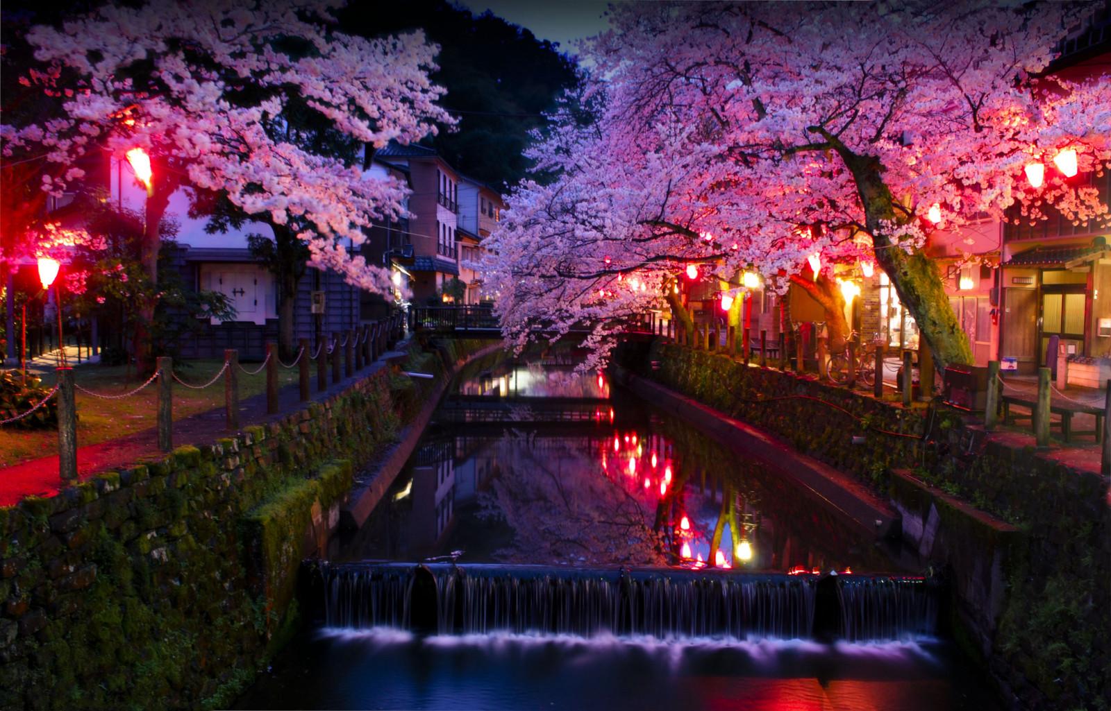 Японские картинки ночь, дорожного работника