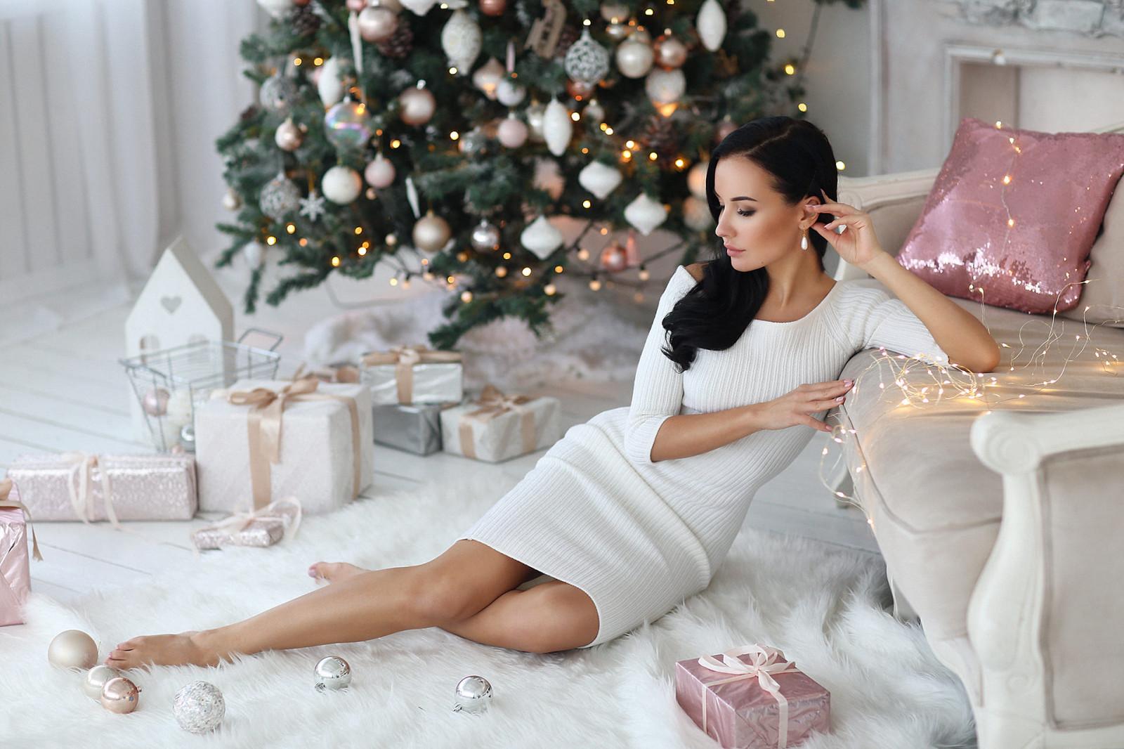 Girl In Sweatshirt And Panties In Front Of Her Christmas