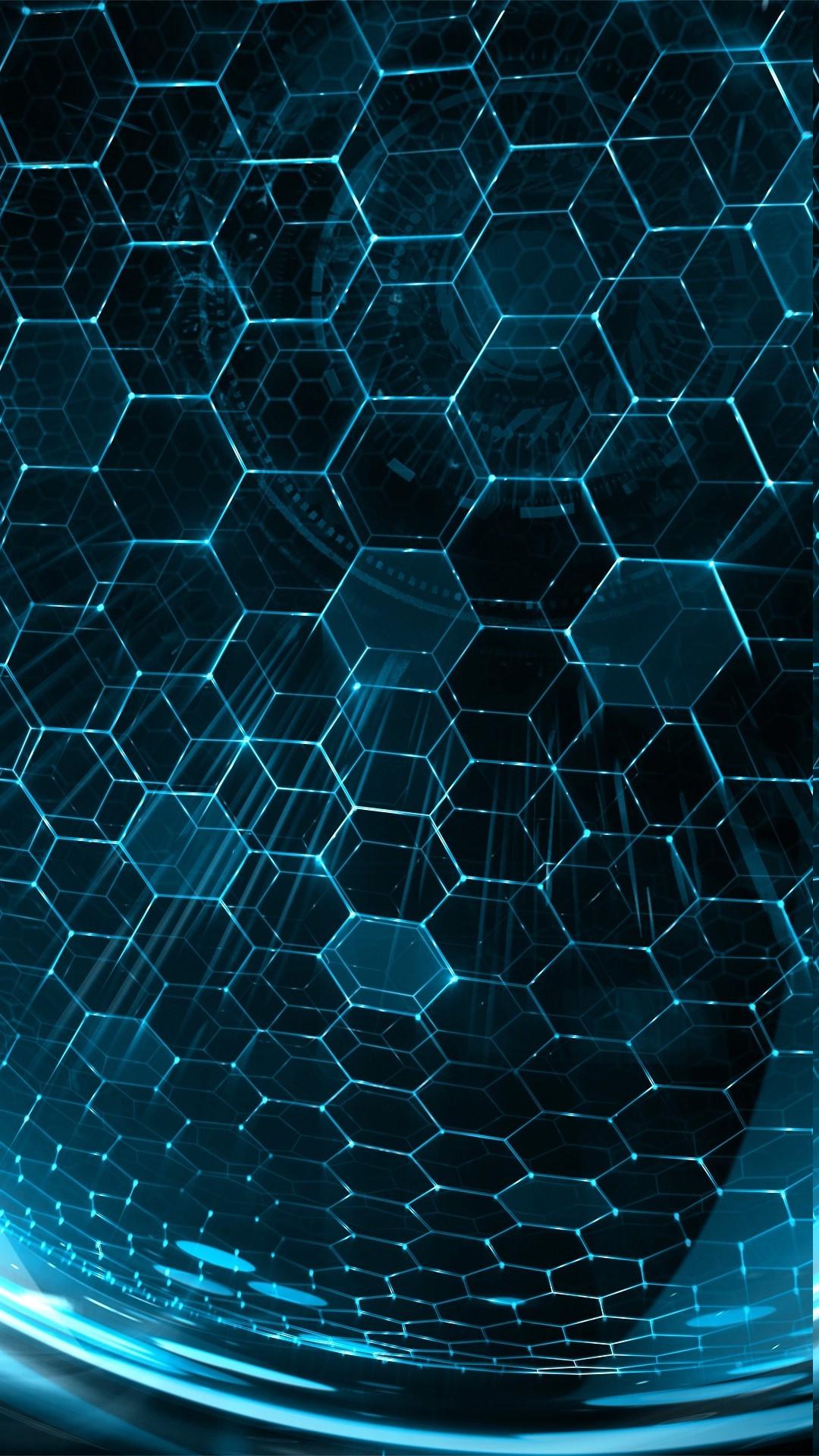 digital art abstract water 3D space minimalism portrait display glowing sphere symmetry blue hexagon pattern geometry