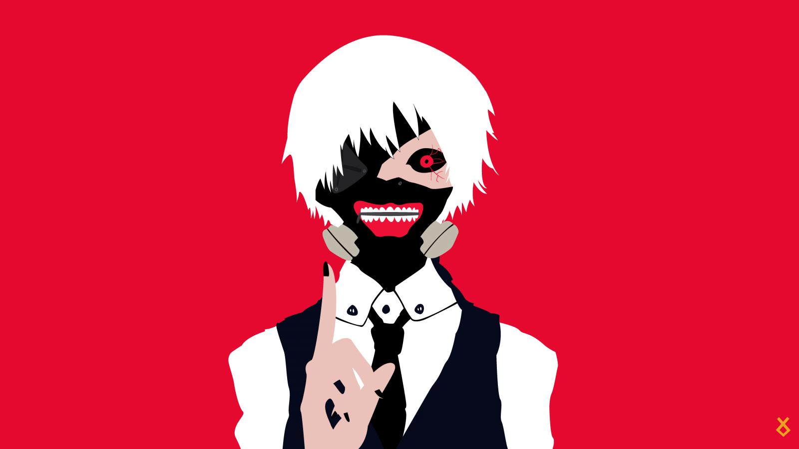 Wallpaper : illustration, minimalism, cartoon, Kaneki Ken ...