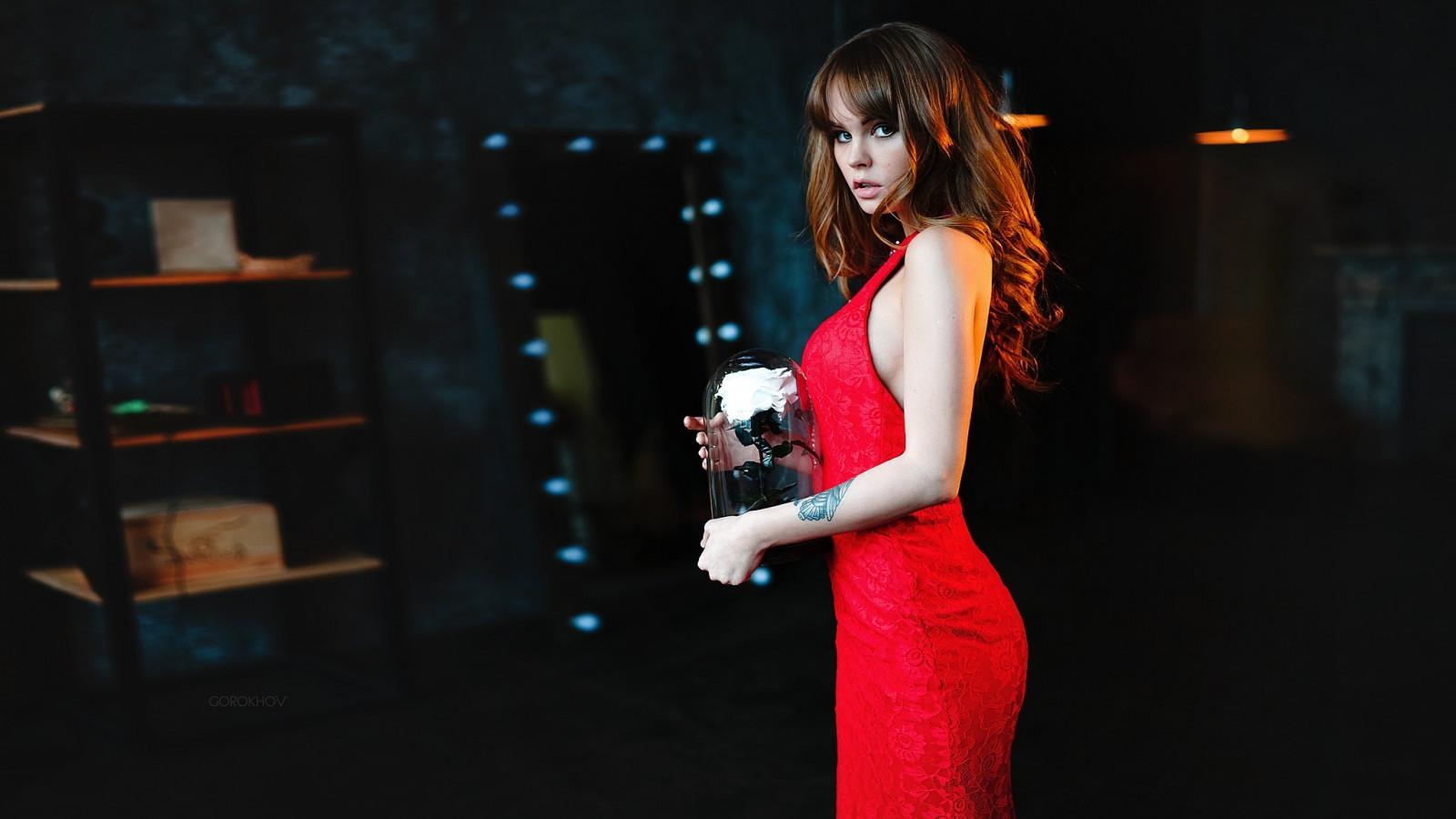 women, model, portrait, red, Anastasia Scheglova, tattoo, red dress, fashion, Ivan Gorokhov, singing, stage, musical theatre, performance art
