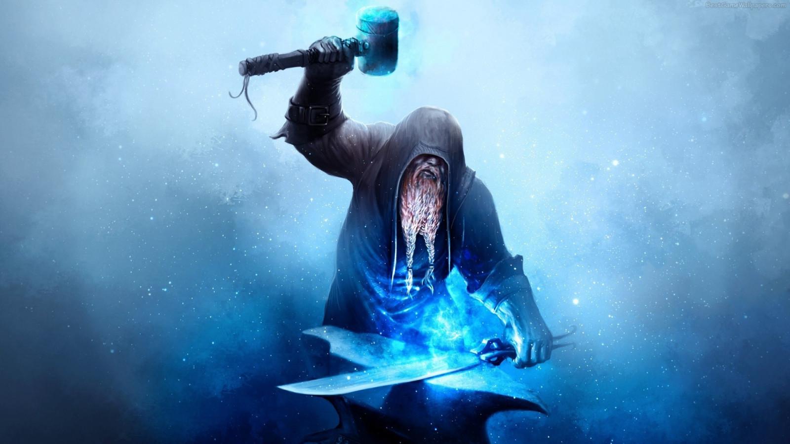 Fantasy Art Abstract 3D Blue Sword Underwater Hammer Blacksmith Anvil Dwarf Hammerman Screenshot Computer Wallpaper Extreme