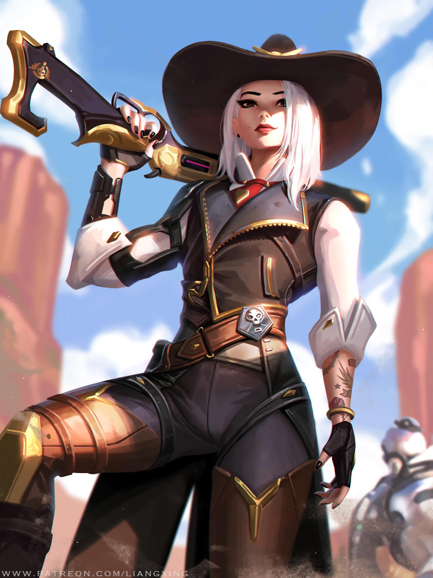 Wallpaper  Ashe Overwatch, Cowboys, Blonde, Liang Xing, Girls With Guns 1500X2000 -5394
