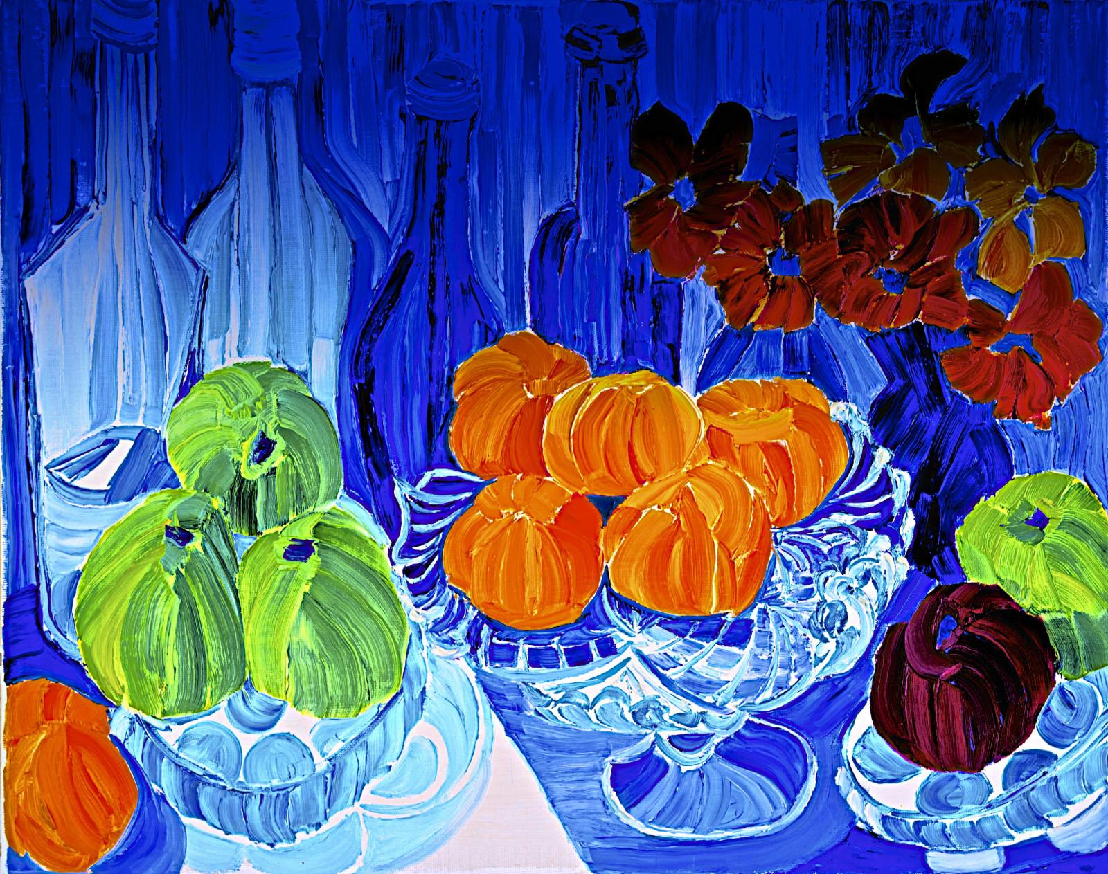 Masaüstü Mavi Sarı Yaprak Boyama çiçek Sanat Organizma