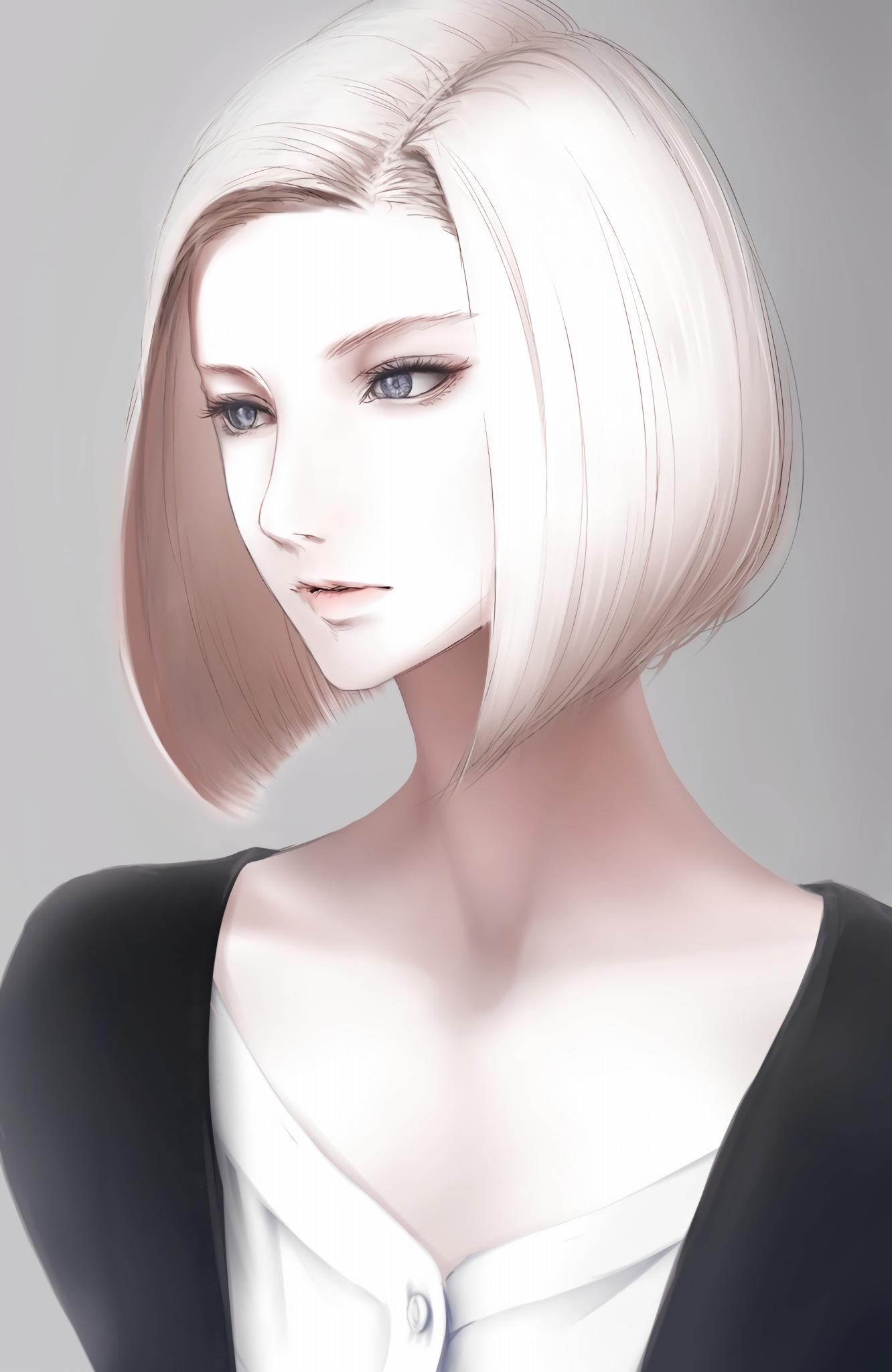 Wallpaper : face, long hair, white hair, anime girls, short ...