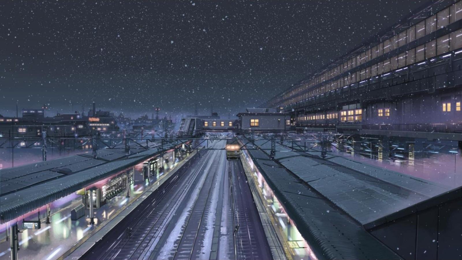 Cityscape Night Snow Winter Train Station Traffic 5 Centimeters Per Second Stadium Makoto Shinkai Transport Screens