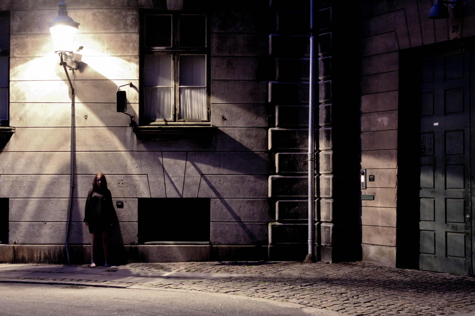 Wallpaper Women Model Window Dark City Street