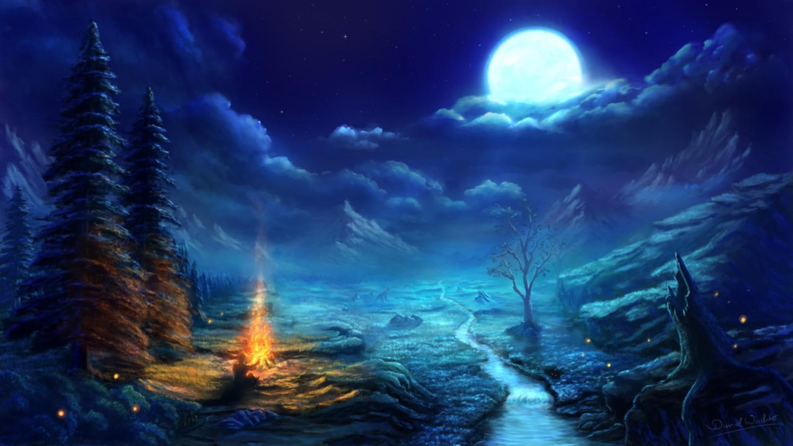 Great Wallpaper Night Art - digital_art_fantasy_art_nature_landscape_night_Moon_fire_trees-53039  HD.jpg!d