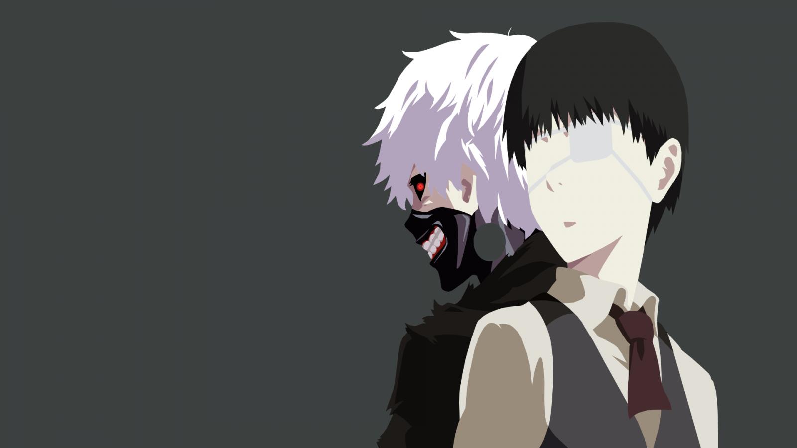 Wallpaper : illustration, monochrome, anime, Kaneki Ken ...