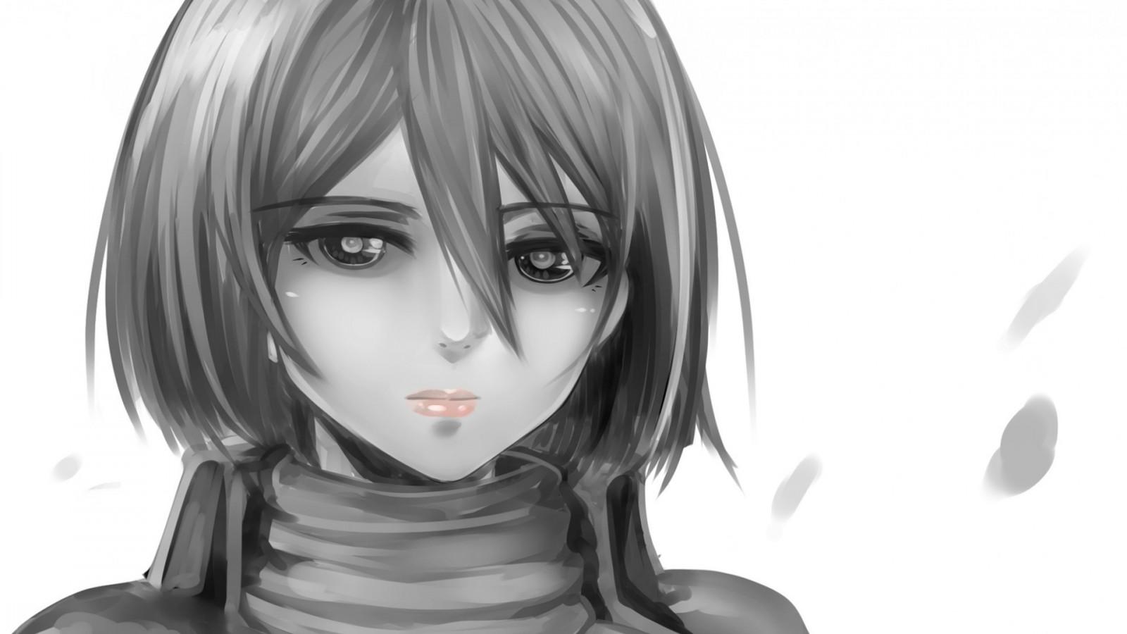 Sfondi disegno illustrazione monocromo anime girls
